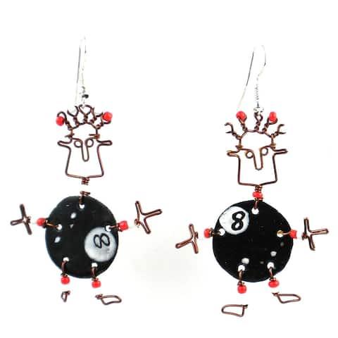 Handmade Dancing Girl Eight Ball Earrings (Kenya)