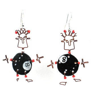 Handmade Dancing Girl Eight Ball Earrings (Kenya)
