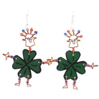 Handmade Dancing Girl Luck of the Irish Earrings (Kenya)