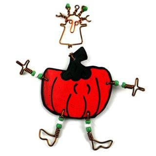 Handmade Dancing Girl Pumpkin Pin (Kenya)