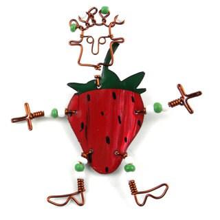 Handmade Dancing Girl Strawberry Pin (Kenya)