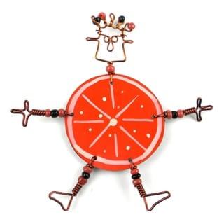 Handmade Dancing Girl Orange Slice Pin (Kenya)