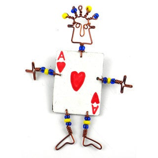 Handmade Dancing Girl Card Player Pin (Kenya)