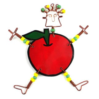 Handmade Dancing Girl Rosy Apple Pin (Kenya)