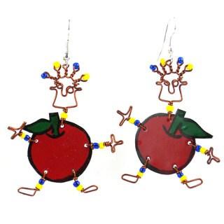 Handmade Dancing Girl Rosy Apple Earrings (Kenya)