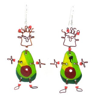 Handmade Dancing Girl Avocado Earrings (Kenya)