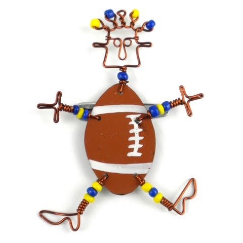 Handmade Dancing Girl American Football Pin (Kenya)