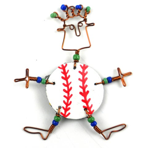 Handmade Dancing Girl Baseball Fanatic Pin (Kenya)