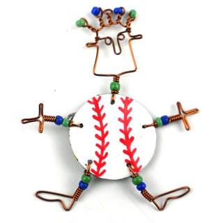 Handmade Dancing Girl Baseball Fanatic Pin (Kenya)