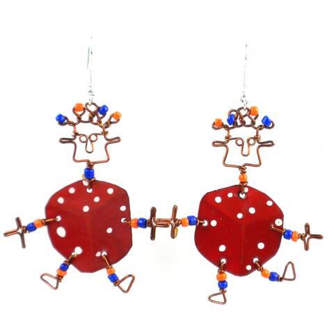 Handmade Dancing Girl Lucky Dice Earrings (Kenya)