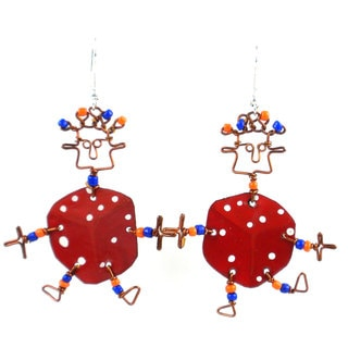 Dancing Girl Lucky Dice Earrings (Kenya)