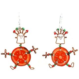 Handmade Dancing Girl Orange Slice Earrings (Kenya)