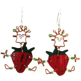 Dancing Girl Strawberry Earrings (Kenya)