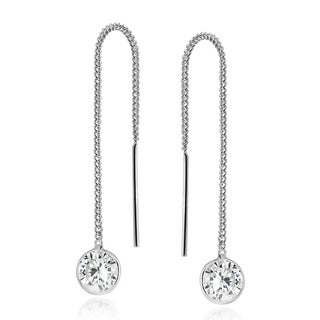 Handmade Round Cubic Zirconia Thread Slide Silver Earrings (Thailand)