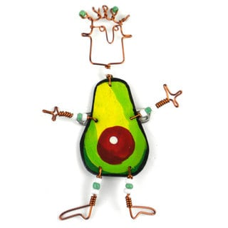 Handmade Dancing Girl Avocado Pin (Kenya)