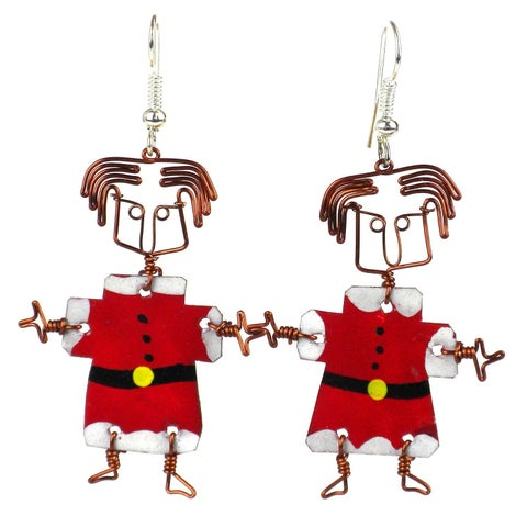 Handmade Dancing Girl Santa Earrings (Kenya)