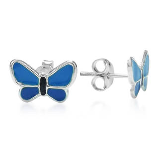 Adorable Mini Blue Butterfly .925 Silver Stud Earrings