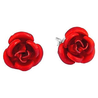 Handmade Blooming Rose .925 Sterling Silver Stud Earrings (Thailand)