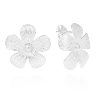 Handmade Hawaiian Plumeria Flower Satin .925 Silver Post Earrings (Thailand)
