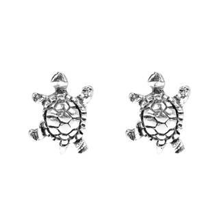Handmade Petite Swimming Sea Turtle Stud Sterling Silver Earrings (Thailand)