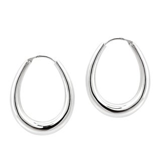 Modern 24mm Shiny Oval Hoop .925 Silver Earrings (Thailand)