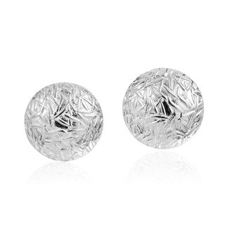 Alluring Textured Round Sterling Silver Stud Earrings (Thailand)