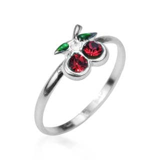 Sublime Cherry Inlaid Red CZ .925 Silver Toe or Pinky Ring (Thailand)