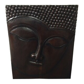 Handmade Teak Wood Buddha Wall Plaque (Indonesia)