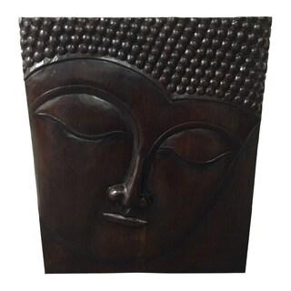 Handmade Teak Wood Buddha Wall Plaque (Indonesia) - Brown