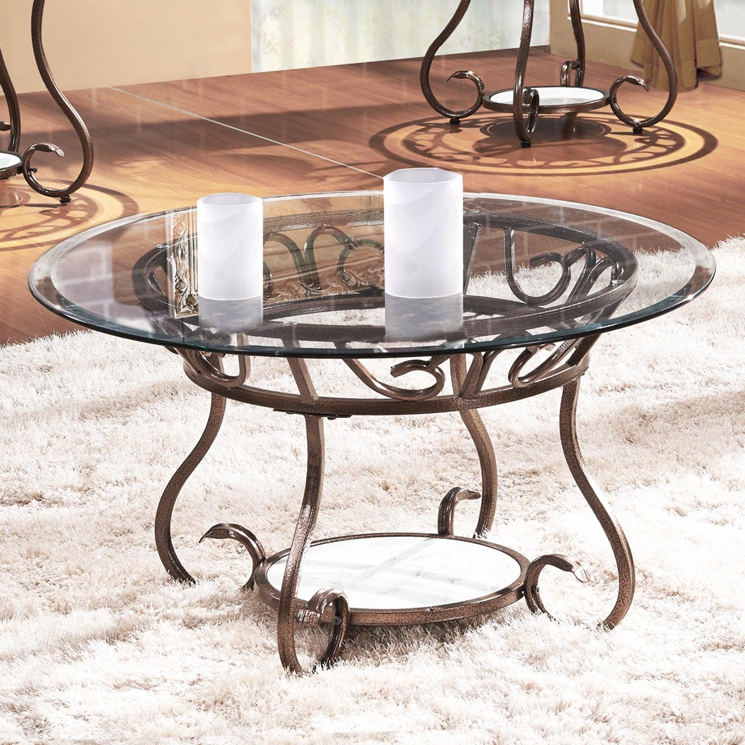 Adeco Glass and Bronze Metal Coffee Table (brown, clear g...