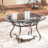 Adeco Glass and Bronze Metal Coffee Table