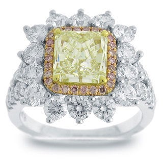 Azaro 18k Two-tone Gold 4ct TDW Radiant-cut Natural Light Green Yellow, Pink, White Diamond Ring (G, SI)
