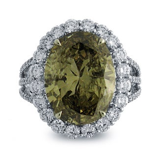 Azaro 18k White Gold 8 1/3ct TDW Oval Natural Fancy Dark Yellow-brown Diamond Ring (G-H, I1-I2)