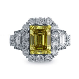 Azaro 18K Two-tone Gold 4 1/2ct TDW Emerald-cut Natural Fancy Deep Yellow Diamond Ring, Size 6.5 (G-H, SI1