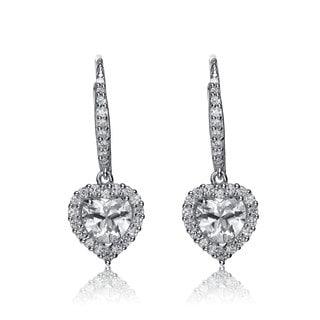 Collette Z Sterling Silver Cubic Zirconia Heart Dangle Earrings