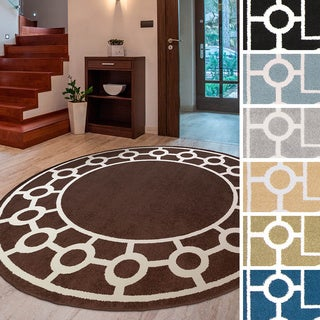"""Meticulously Woven Rancho Transitional Geometric Area Rug (7'10"""" Round)"""