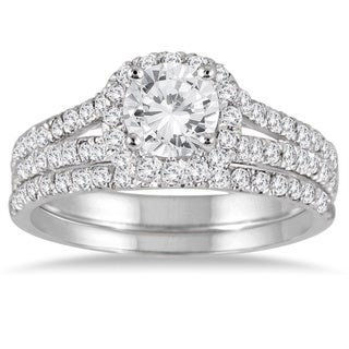 14k White Gold 1 1/2ct TDW Round Diamond Halo Bridal Set