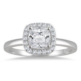 Marquee Jewels 14k White Gold 1 1/10ct TDW Diamond Halo Engagement Ring (I-J, I2-I3)