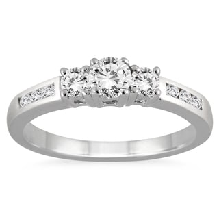 Marquee Jewels 10k White Gold 1/2ct TDW White Diamond 3-stone Ring (I-J, I2-I3)