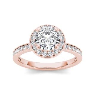De Couer 14k Rose Gold 1 1/2ct TDW Diamond Engagement Ring