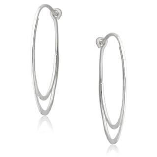 Journee Collection Sterling Silver Handcrafted Hoop Earrings