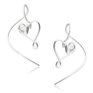 Journee Collection Sterling Silver CZ Handmade Heart Dangle Earrings
