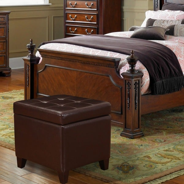 Adeco Bonded Leather Square Storage Ottoman - Adeco Bonded Leather Square Storage Ottoman - Free Shipping Today