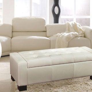 Bonded Leather Storage Ottoman