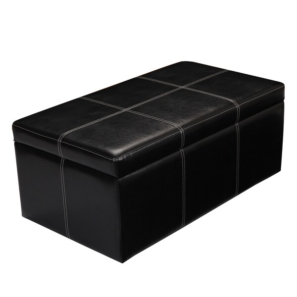 Adeco Bonded Rectangular Black 36 X 20 Inch Leather Storage Ottoman  Footstool