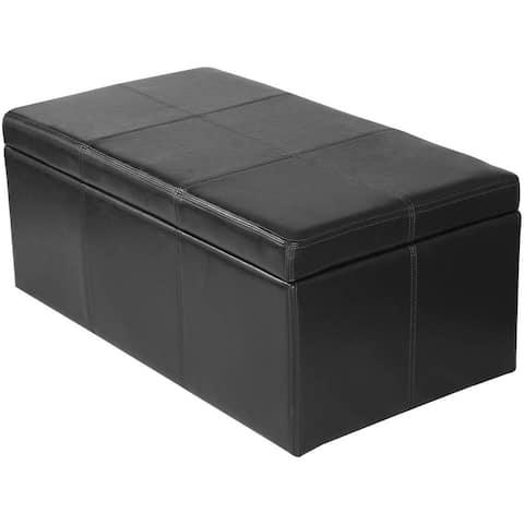 Adeco Bonded Rectangular Black 36 x 20-inch Leather Storage Ottoman Footstool