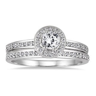 Marquee Jewels 10k White Gold 1/2ct TDW Diamond Halo Bridal Set (I-J, I2-I3)