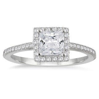 14k White Gold 1ct TDW Princess-cut Diamond Halo Ring (3 options available)