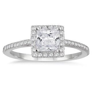 14k White Gold 1ct TDW Princess-cut Diamond Halo Ring
