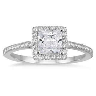 14k White Gold 1ct TDW Princess-cut Diamond Halo Ring